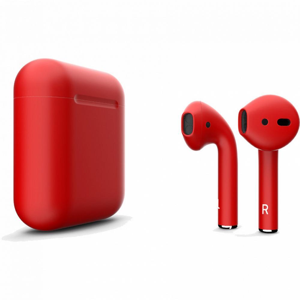 Беспроводные  блютуз наушники Apple AirPods 2 red - красные матовые