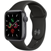 Смарт часы Apple Watch Series 5, 40 мм, корпус из алюминия цвета серый космос, черный спортивный браслет