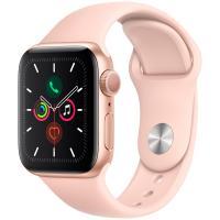 Смарт часы Apple Watch Series 5, 40 мм, корпус из алюминия золотого цвета, спортивный браслет - розовый песок