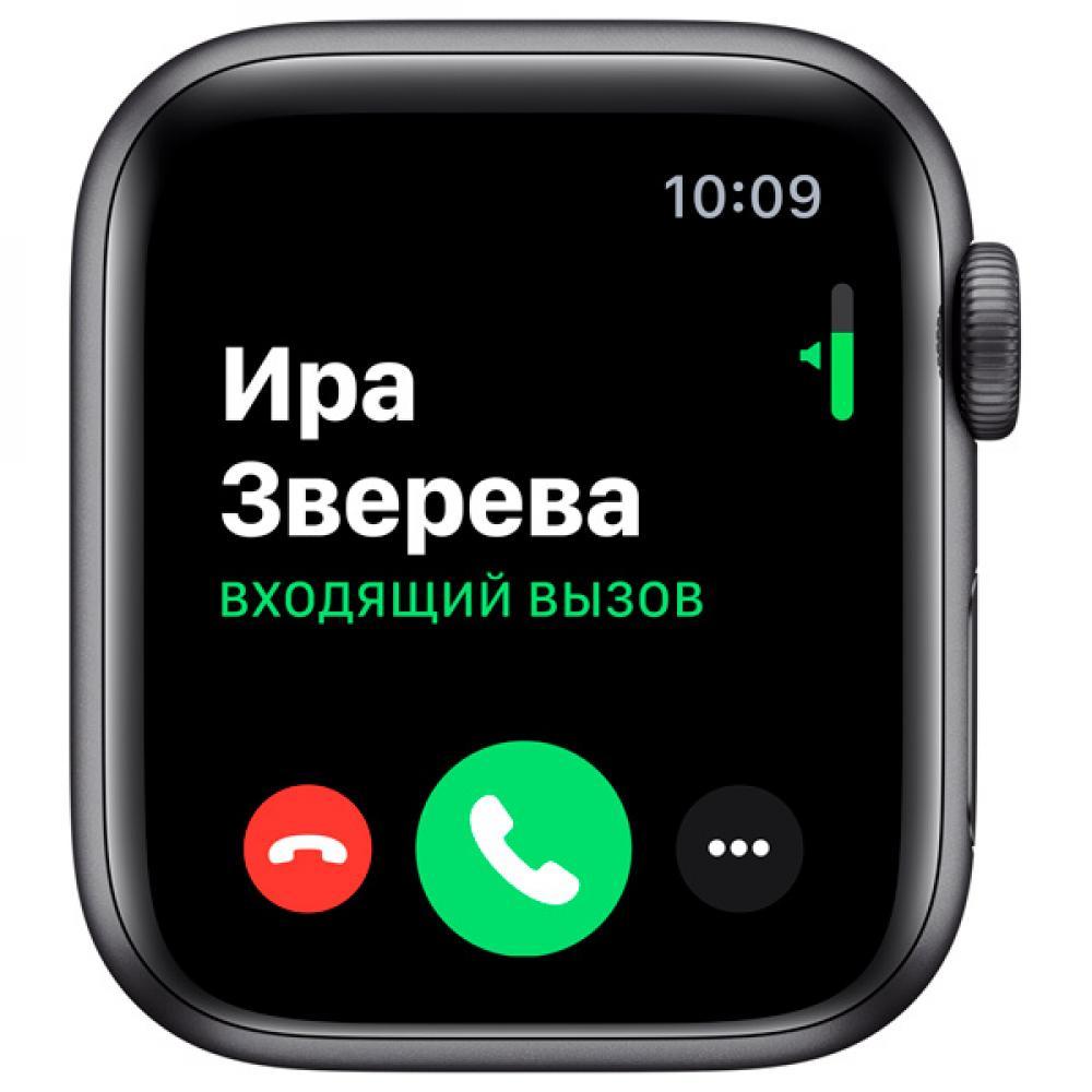 Смарт часы Apple Watch Series 5, 44 мм, корпус из алюминия цвета серый космос, черный спортивный браслет