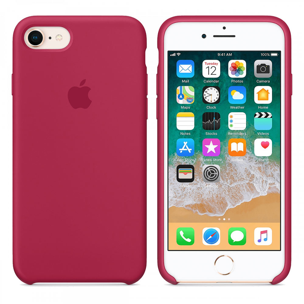 iPhone 8/7 силиконовый чехол - Вишневый