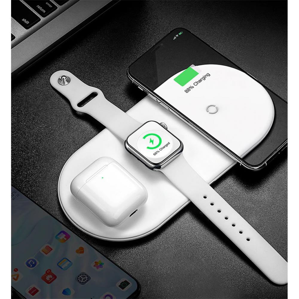 Беспроводное зарядное устройство Baseus Smart 3in1 White