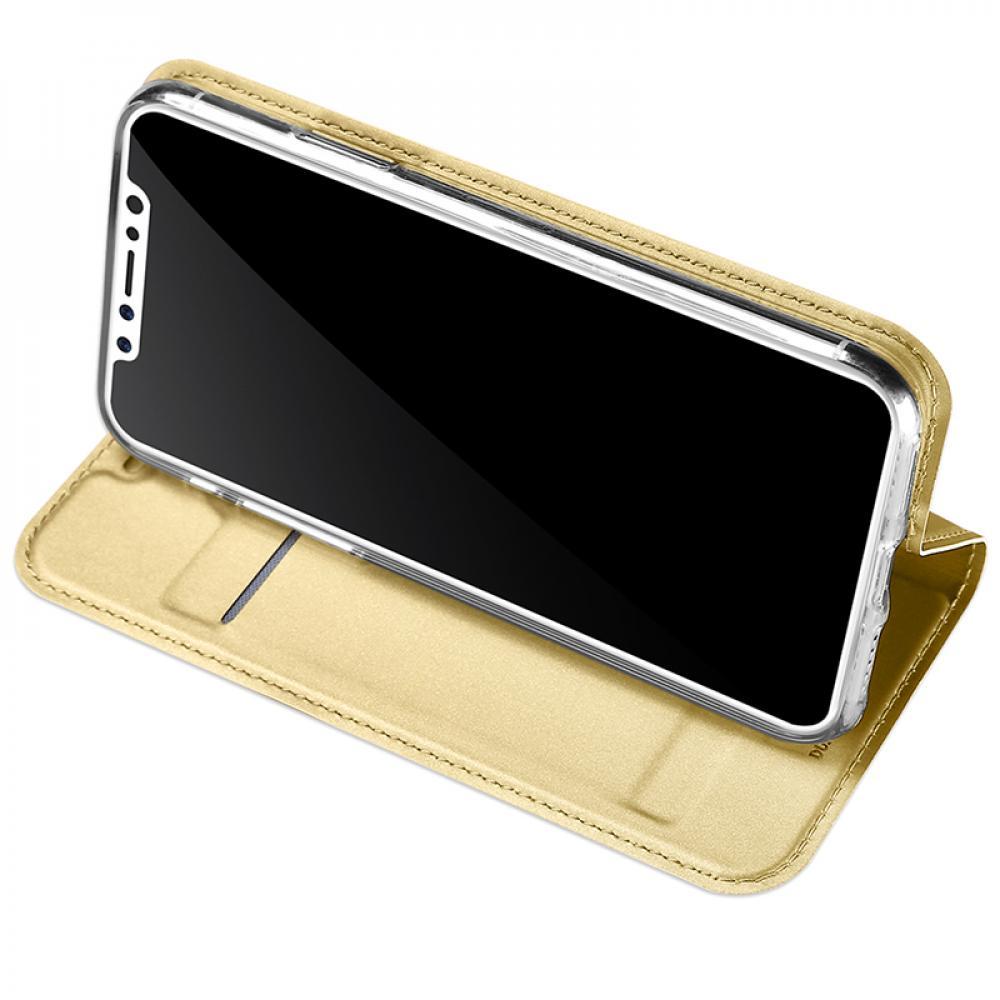 Кожаный чехол книжка для iPhone X - черный - золотой