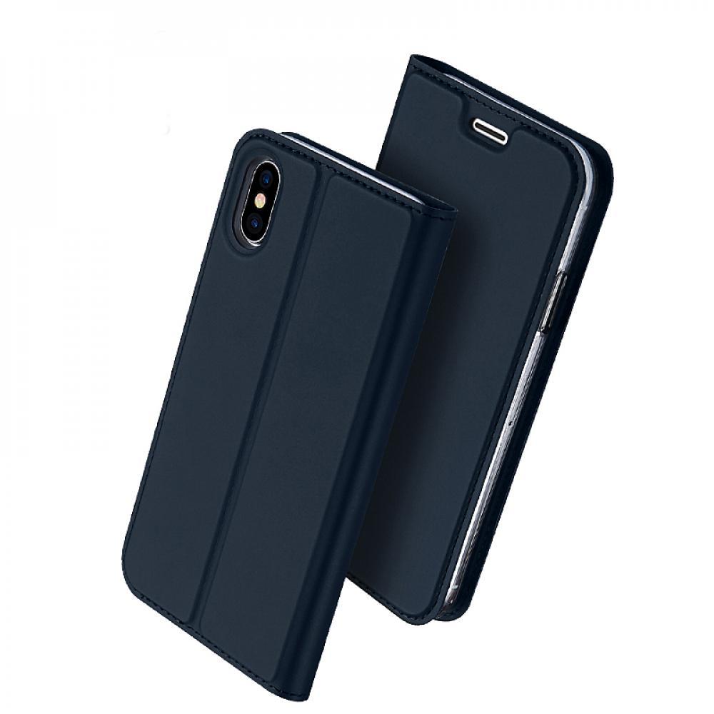 Кожаный чехол книжка для iPhone X - черный - синий
