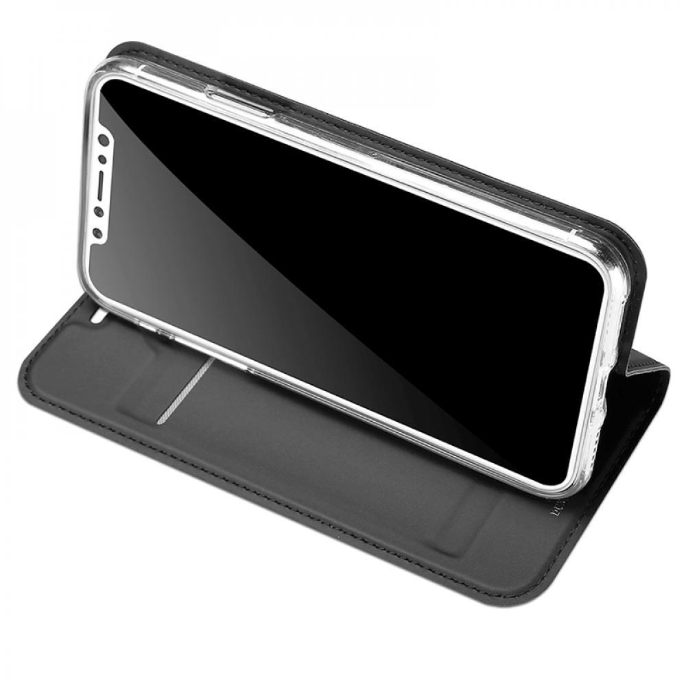 Кожаный чехол книжка для iPhone X - черный