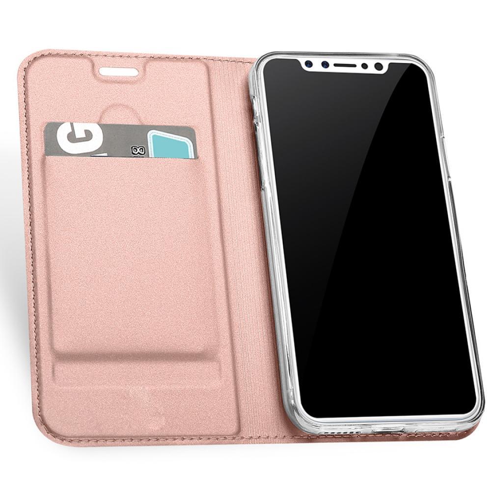 Кожаный чехол книжка для iPhone X - черный - розовый