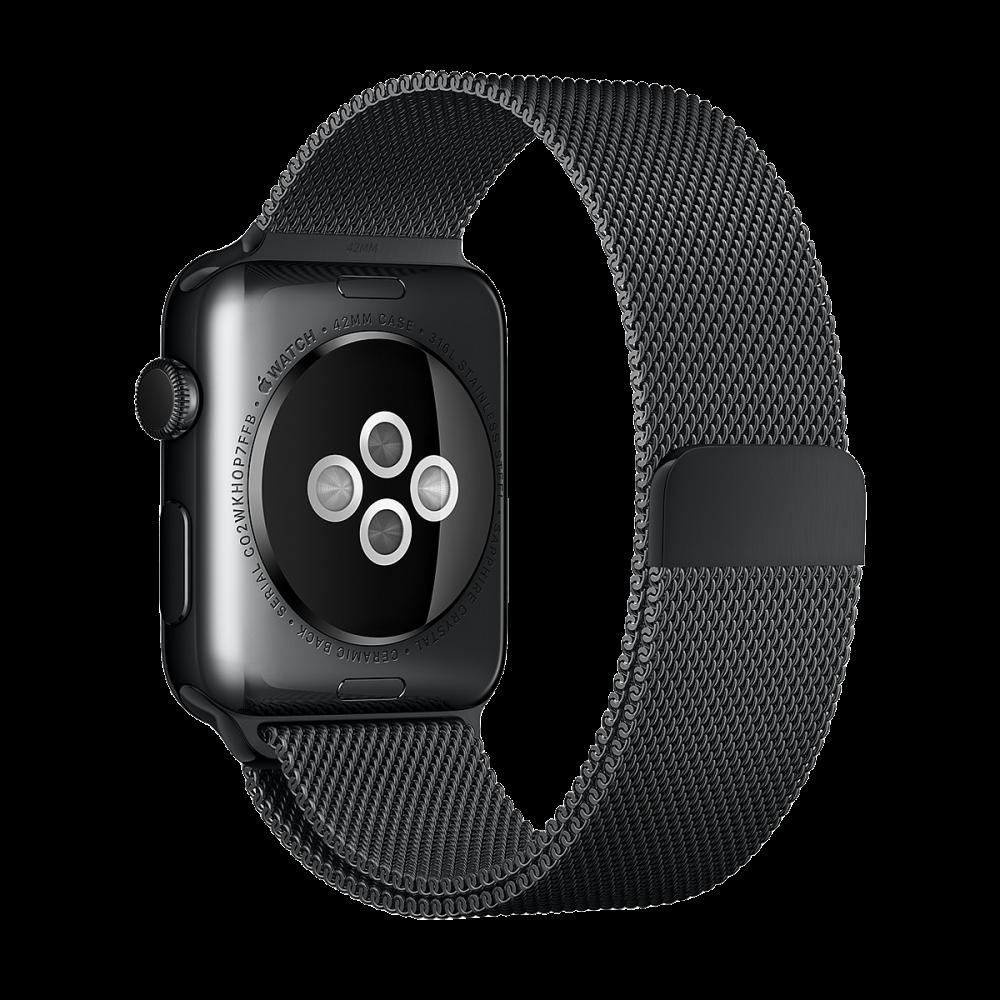 Ремень Apple Watch 42мм, миланский сетчатый «чёрный космос»
