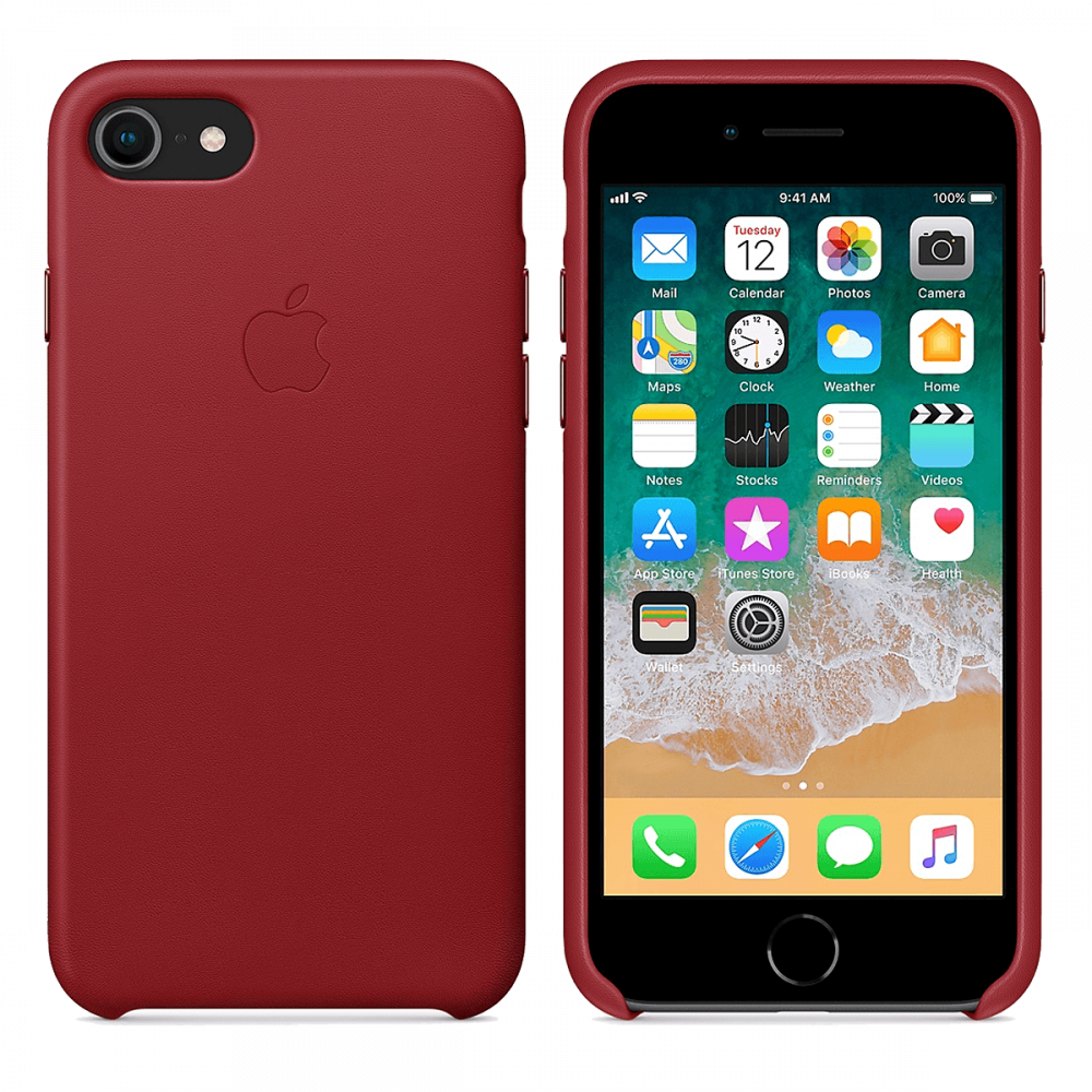 Чехол Apple Leather Case для iPhone 8/7 - темно-красный