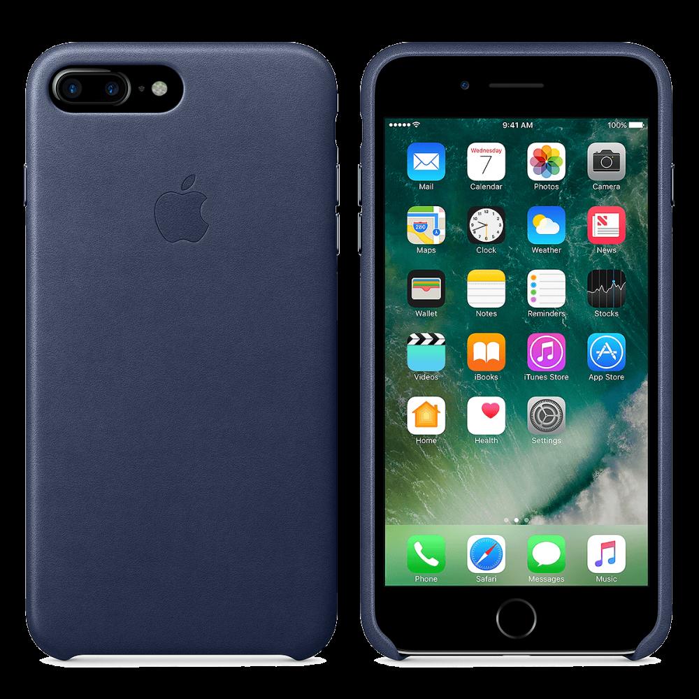 iPhone 8 Plus / 7 Plus кожаный чехол - темно-синий
