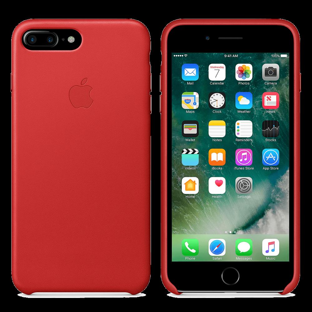 iPhone 8 Plus / 7 Plus кожаный чехол - красный