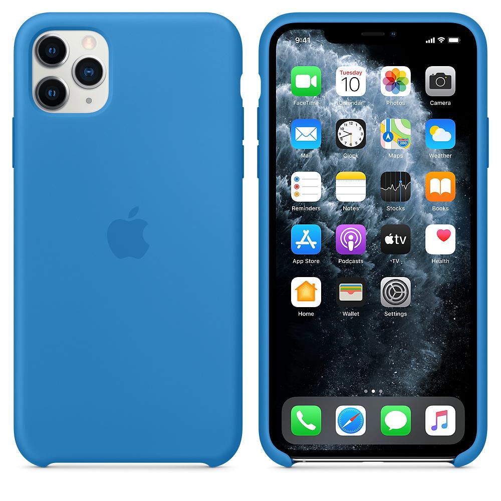 Силиконовый чехол Silicone Case для iPhone 11 Pro Max, Cиняя волна