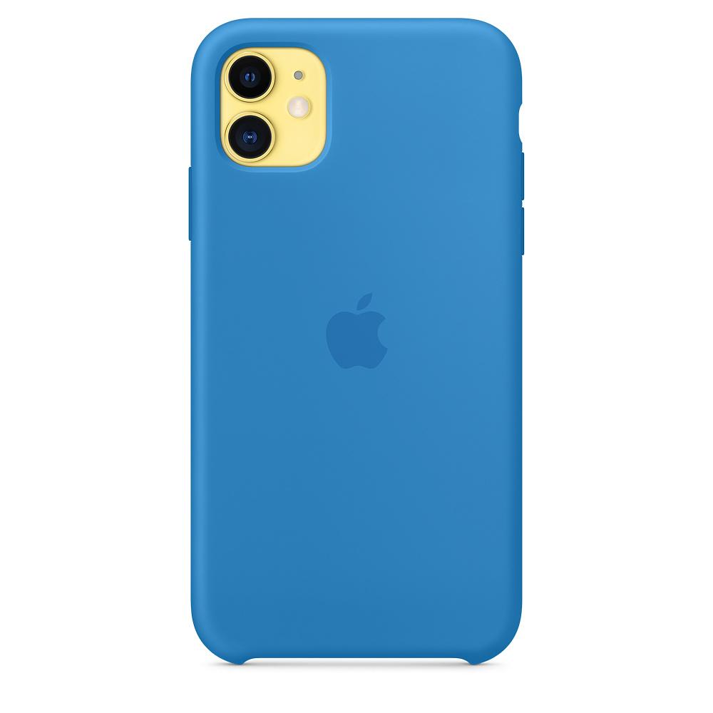 Силиконовый чехол Silicone Case для iPhone 11, Cиняя волна