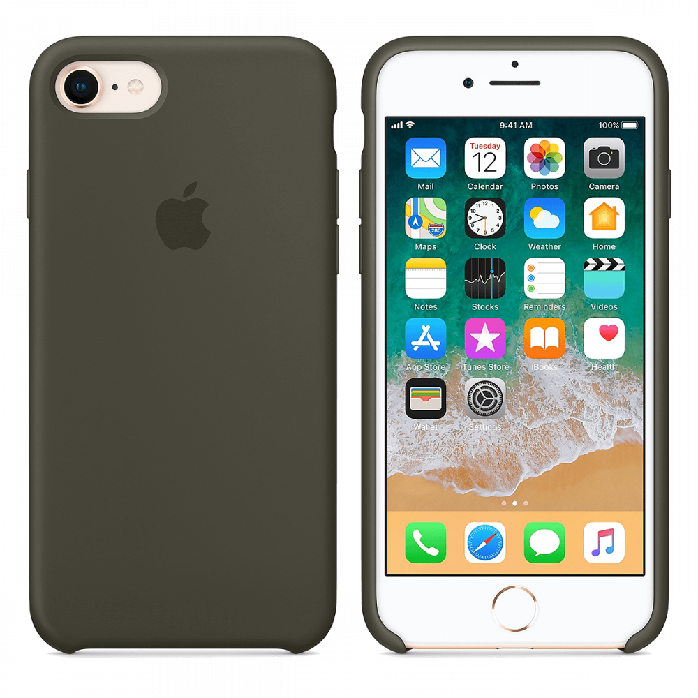iPhone 8/7 Силиконовый чехол - Темно зеленый