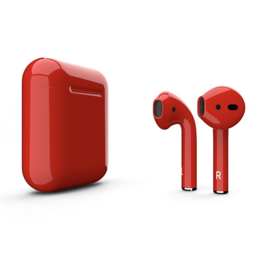 Беспроводные блютуз наушники Apple AirPods 2 color red - красные