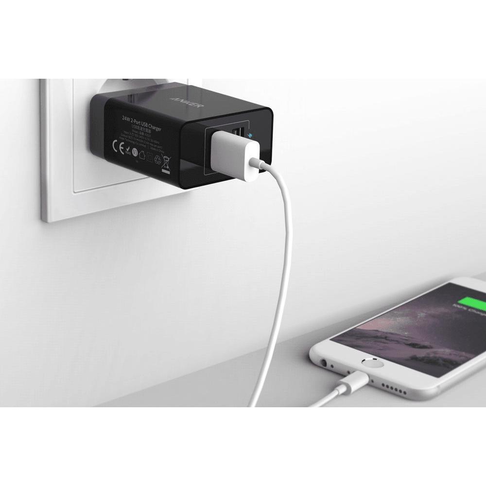 Сетевое зарядное устройство Anker PowerPort 2 USB, Black