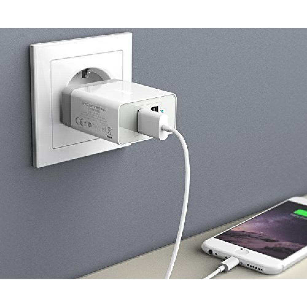 Сетевое зарядное устройство Anker PowerPort 2 USB, White