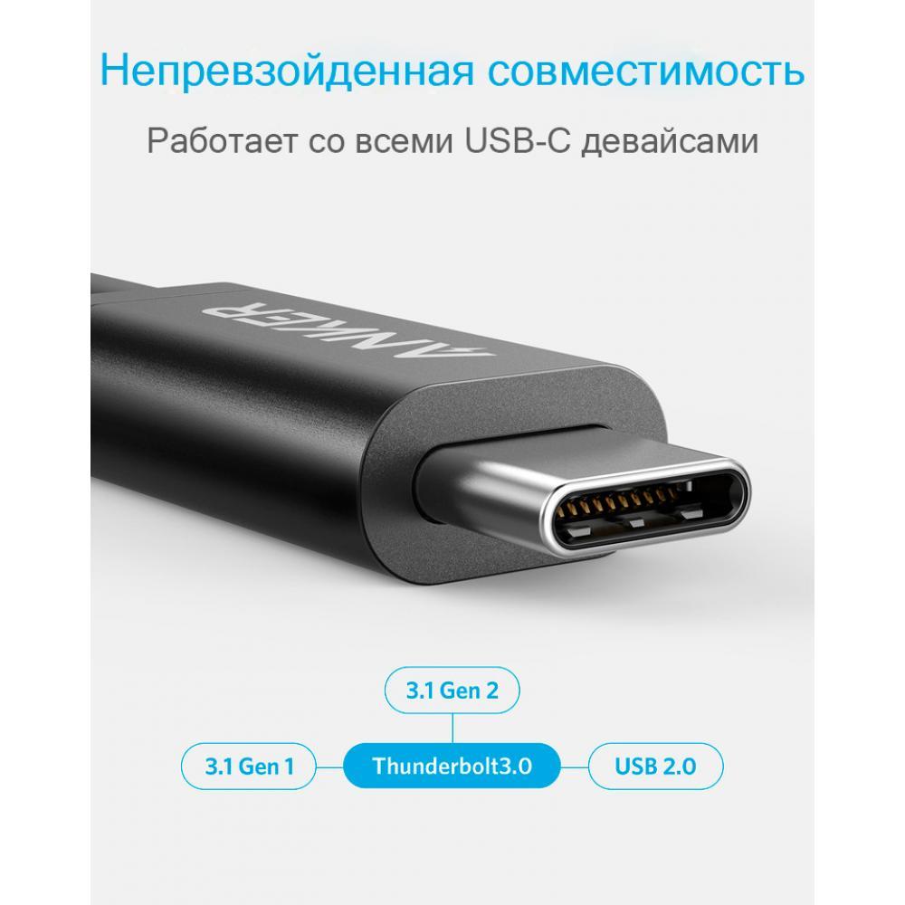 Кабель Anker USB-C to USB-C ThunderBolt 3.0 0.5 м Black, A8486011