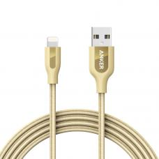 Кабель Anker PowerLine+ Lightning 1.8 м with Pouch Gold, A8122