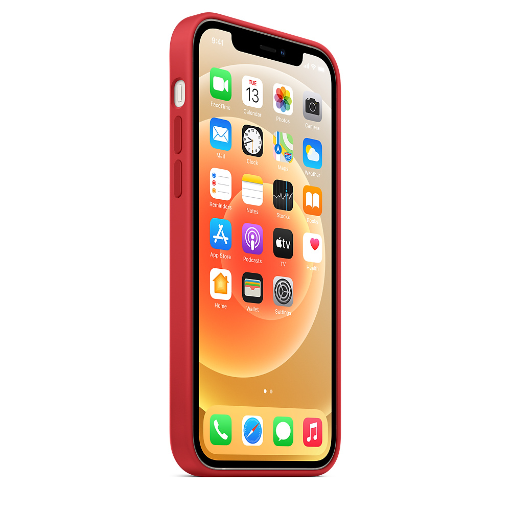 Силиконовый чехол MagSafe для iPhone 12 и iPhone 12 Pro, красный