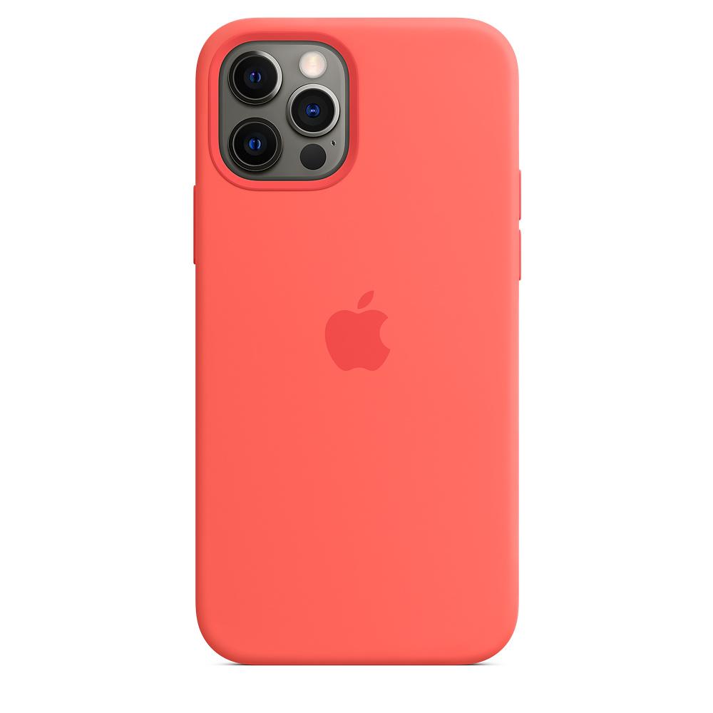 Силиконовый чехол MagSafe для iPhone 12 и iPhone 12 Pro, розовый цитрус