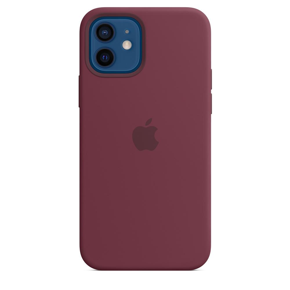 Силиконовый чехол MagSafe для iPhone 12 и iPhone 12 Pro, сливовый