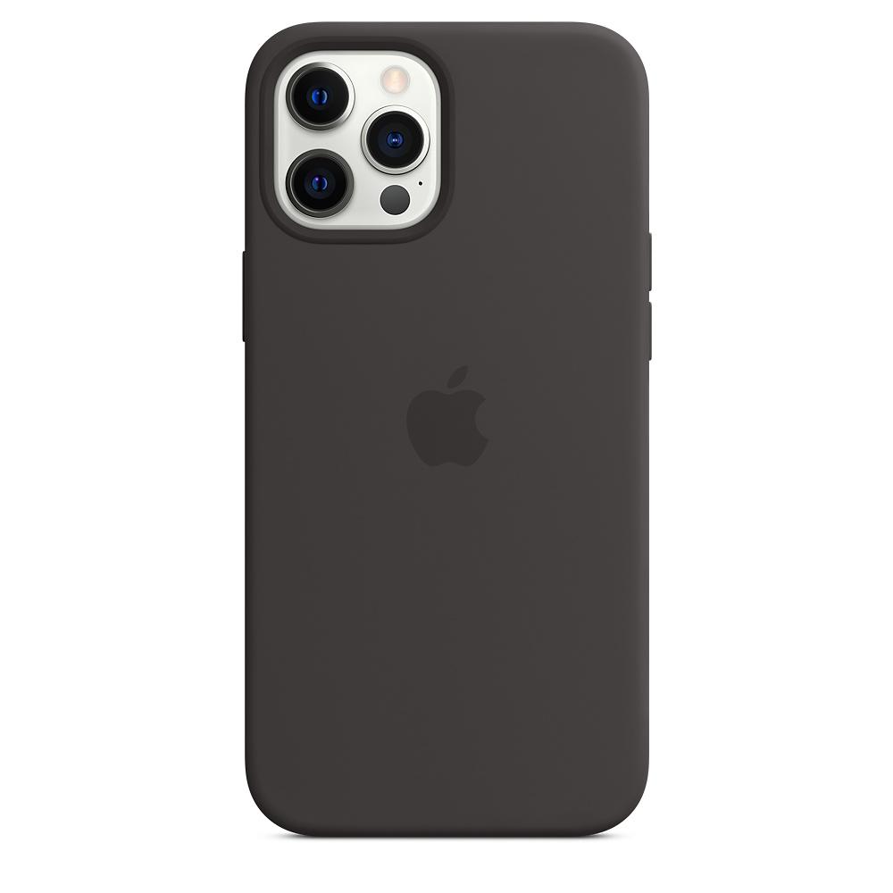 Силиконовый чехол MagSafe для iPhone 12 Pro Max, чёрный