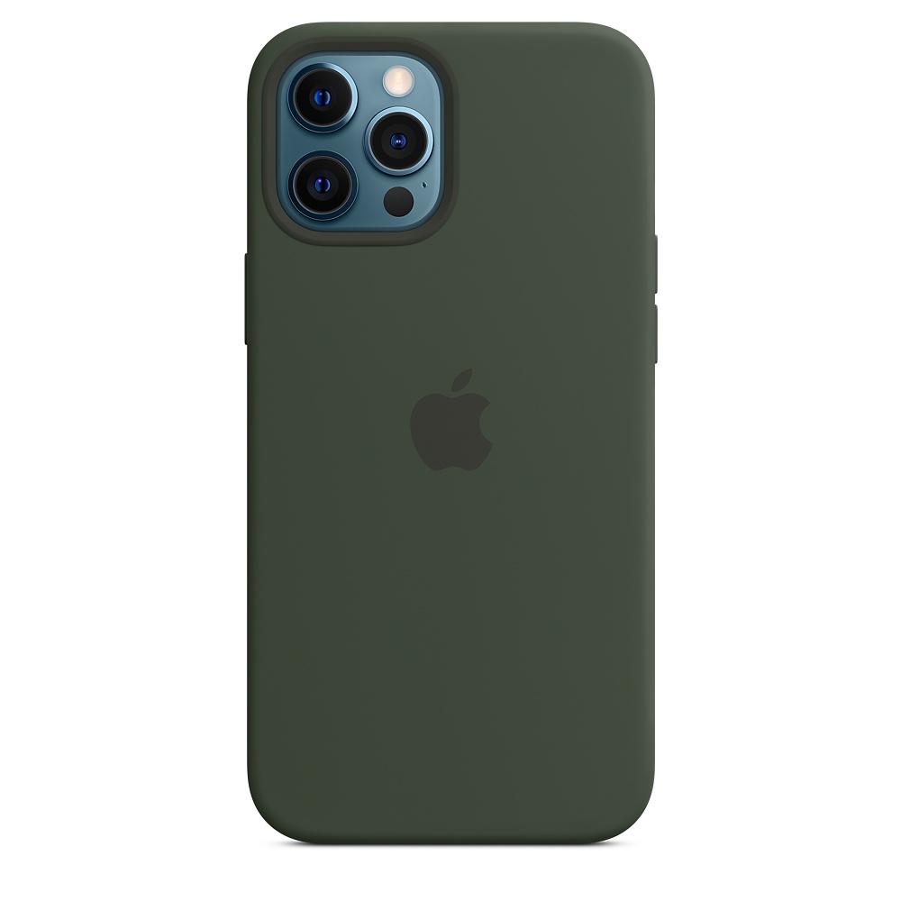 Силиконовый чехол MagSafe для iPhone 12 Pro Max, кипрский зелёный