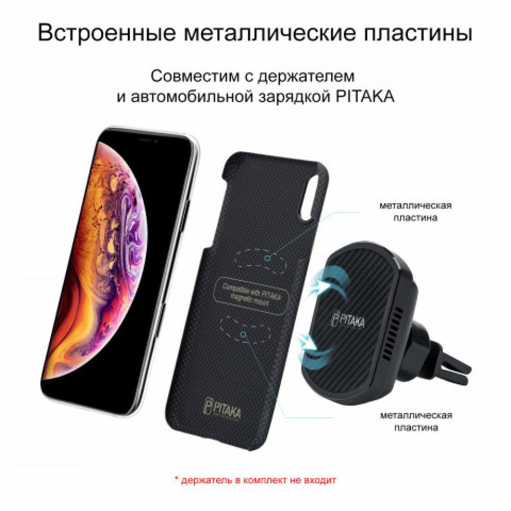 Чехол Pitaka для Apple iPhone XS Max, черно-серый (шахматное плетение), кевлар (арамид)