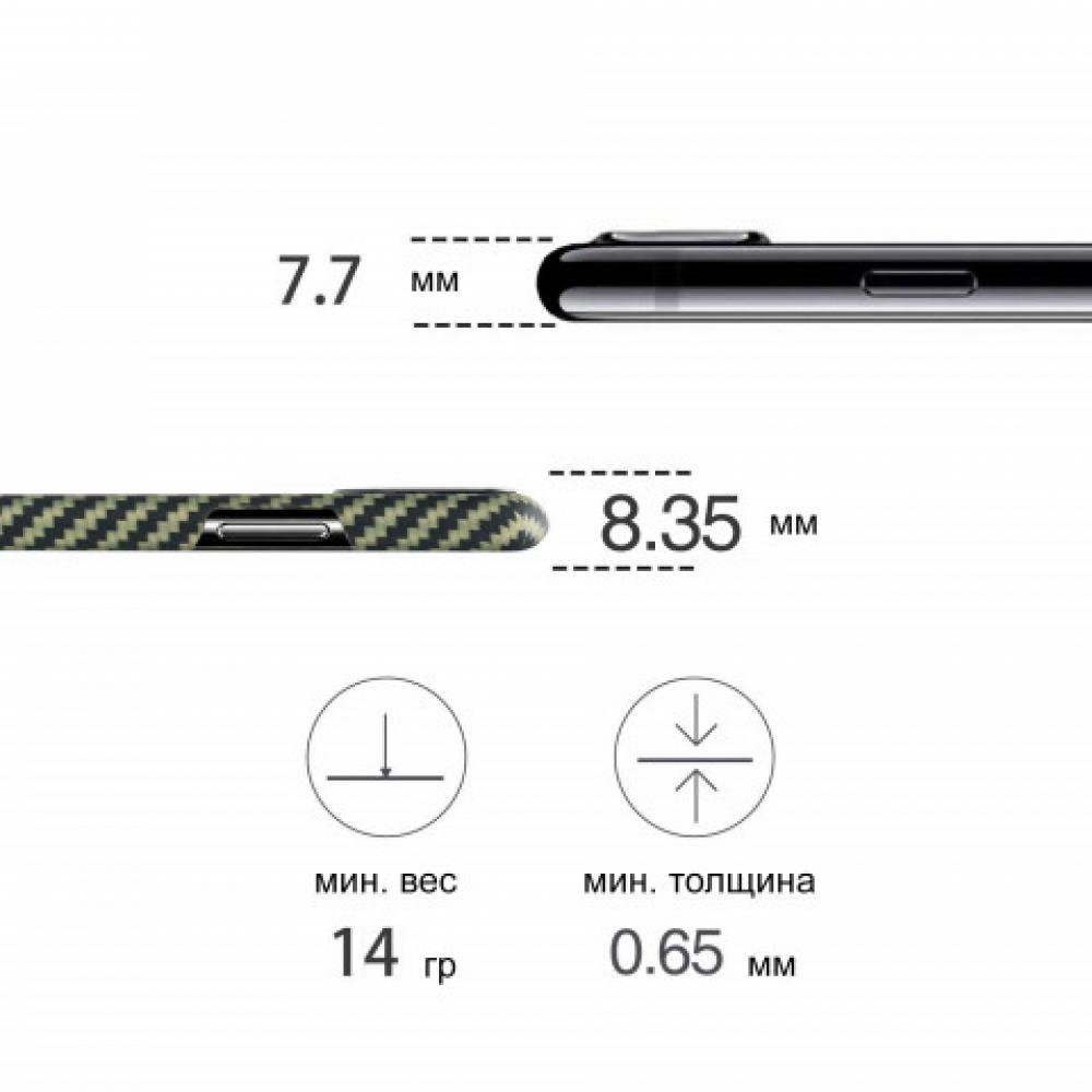 Чехол Pitaka для Apple iPhone XS Max, черно-зеленый, кевлар (арамид)