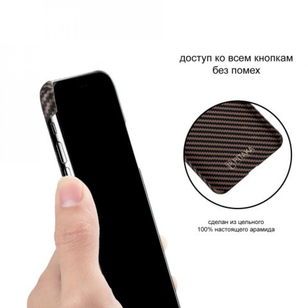 Чехол Pitaka для Apple iPhone XS Max, черно-коричневый, кевлар (арамид)