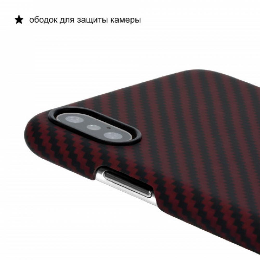 Чехол Pitaka для Apple iPhone XS, черно-красный, кевлар (арамид)