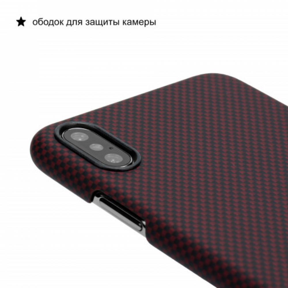 Чехол Pitaka для Apple iPhone XS, черно-красный (шахматное плетение), кевлар (арамид)
