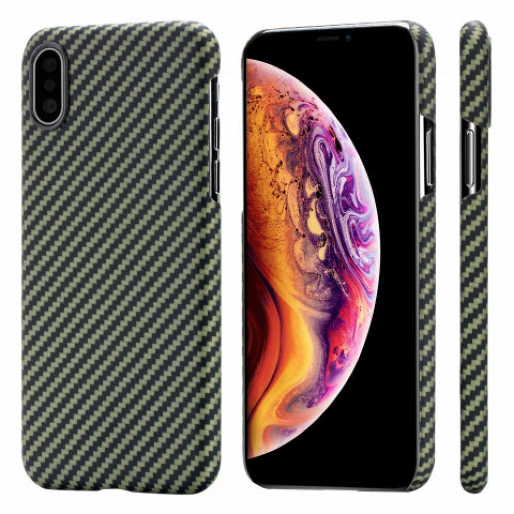 Чехол Pitaka для Apple iPhone XS, черно-зеленый, кевлар (арамид)