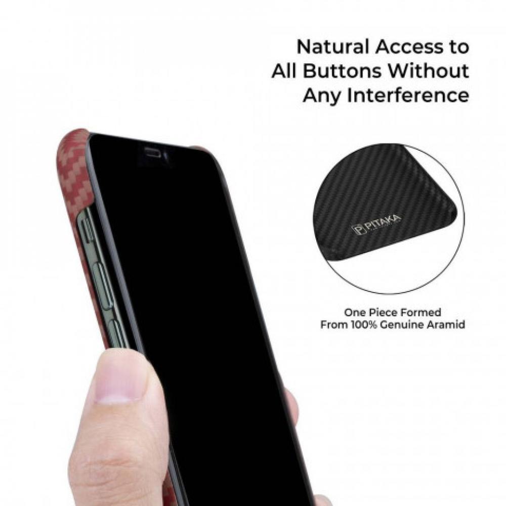 Чехол Pitaka для Apple iPhone 11 Pro Max, красно-оранжевый, кевлар (арамид)