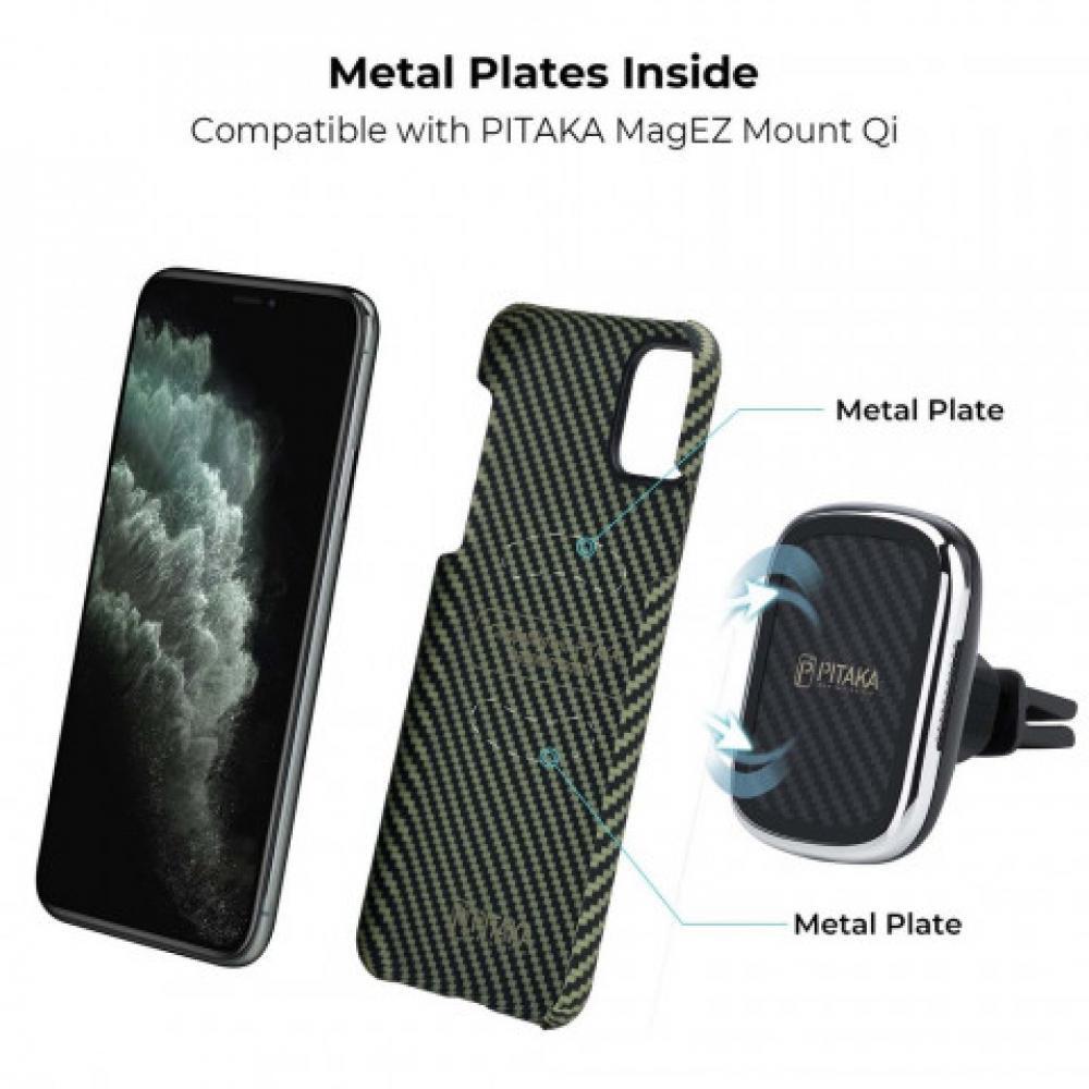 Чехол Pitaka для Apple iPhone 11 Pro, черно-зеленый, кевлар (арамид)