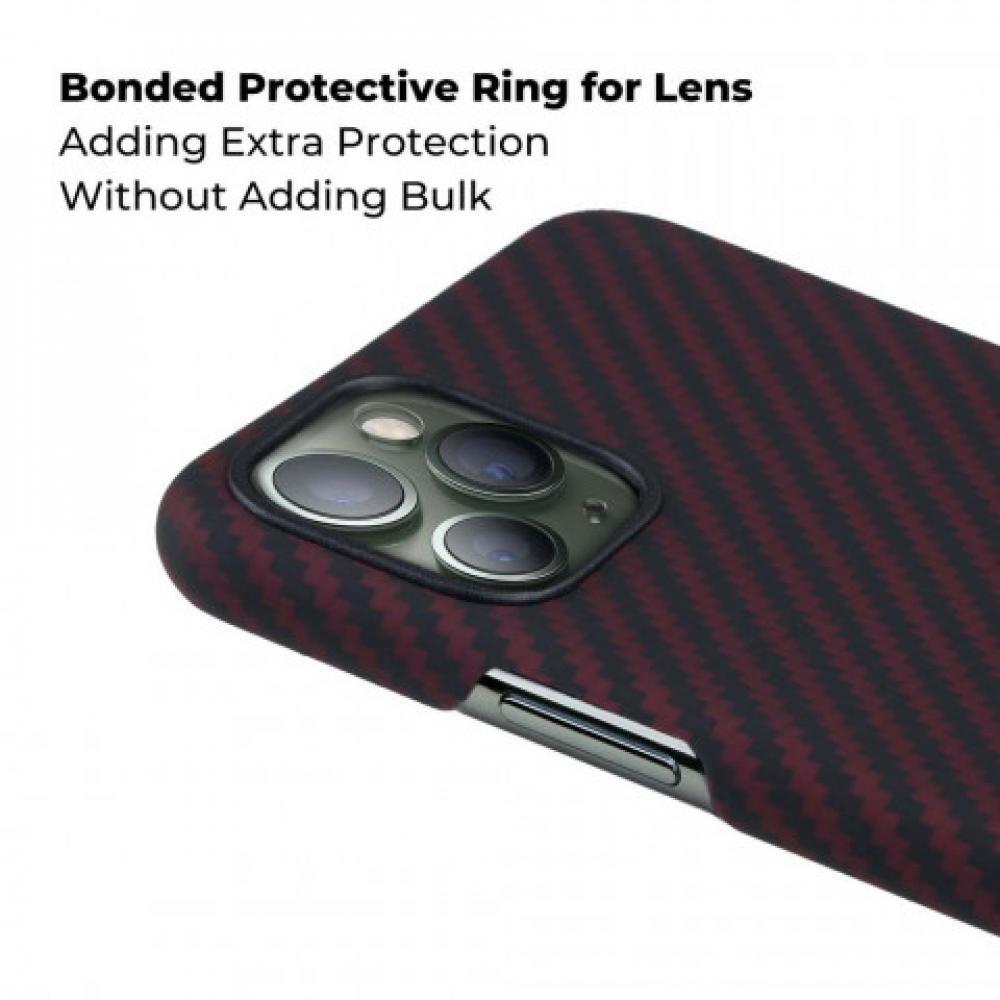 Чехол Pitaka для Apple iPhone 11 Pro Max, черно-красный, кевлар (арамид)