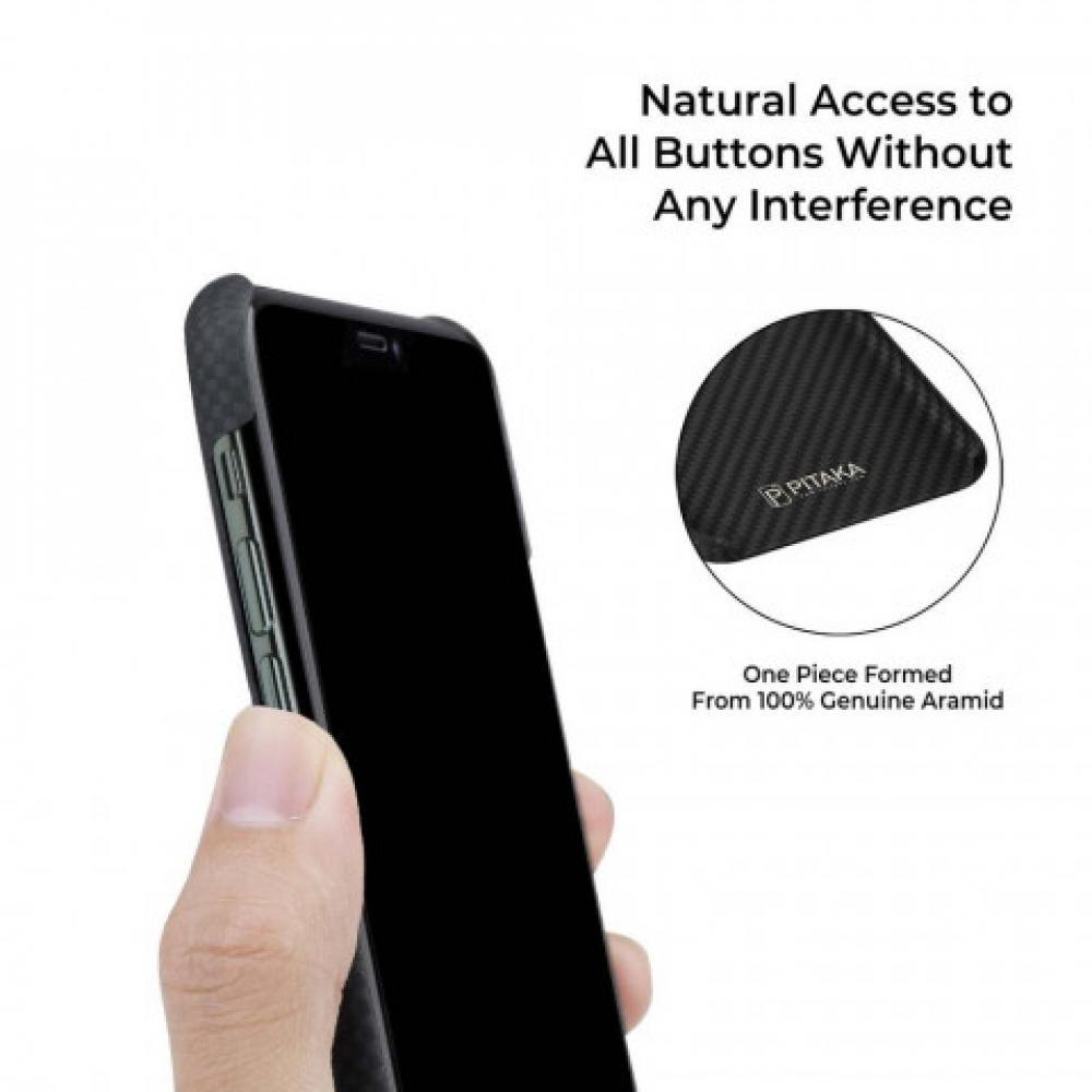 Чехол Pitaka для Apple iPhone 11 Pro Max, черно-серый (шахматное плетение), кевлар (арамид)