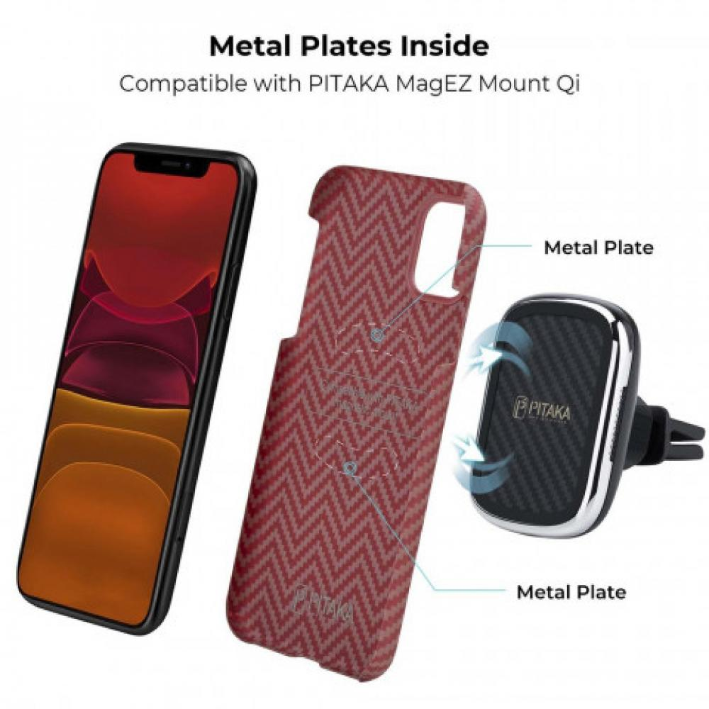 Чехол Pitaka для Apple iPhone 11, красно-оранжевый, кевлар (арамид)