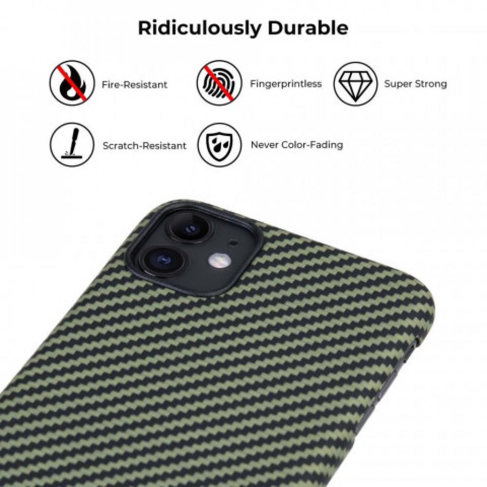 Чехол Pitaka для Apple iPhone 11, черно-зеленый, кевлар (арамид)