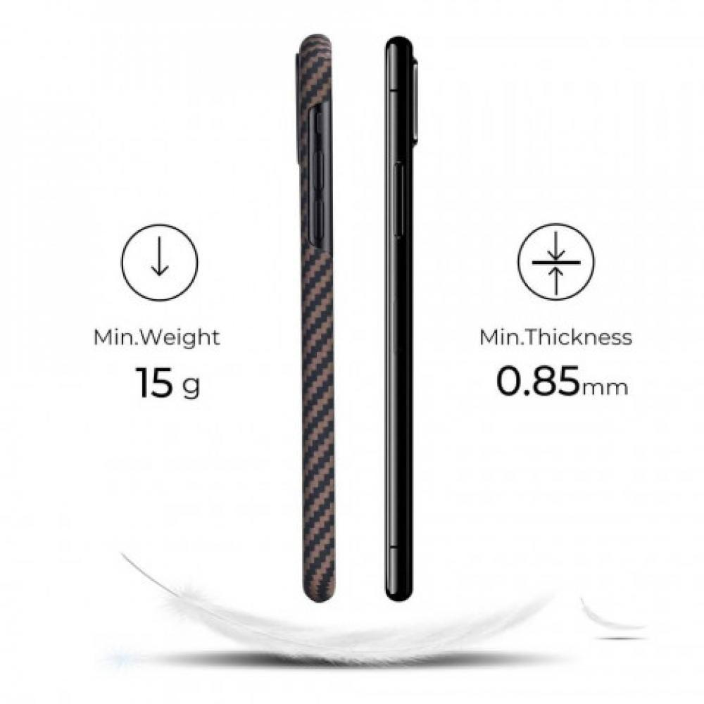 Чехол Pitaka для Apple iPhone 11, черно-коричневый, кевлар (арамид)