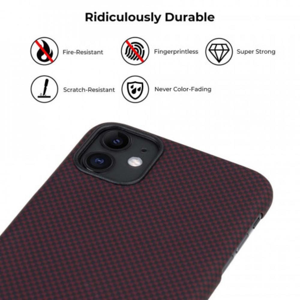 Чехол Pitaka для Apple iPhone 11, черно-красный (шахматное плетение), кевлар (арамид)