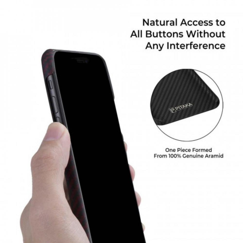 Чехол Pitaka для Apple iPhone 11, черно-красный, кевлар (арамид)