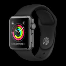 Смарт часы Apple Watch Series 3, 38 мм, корпус из алюминия цвета серый космос, черный спортивный ремешок
