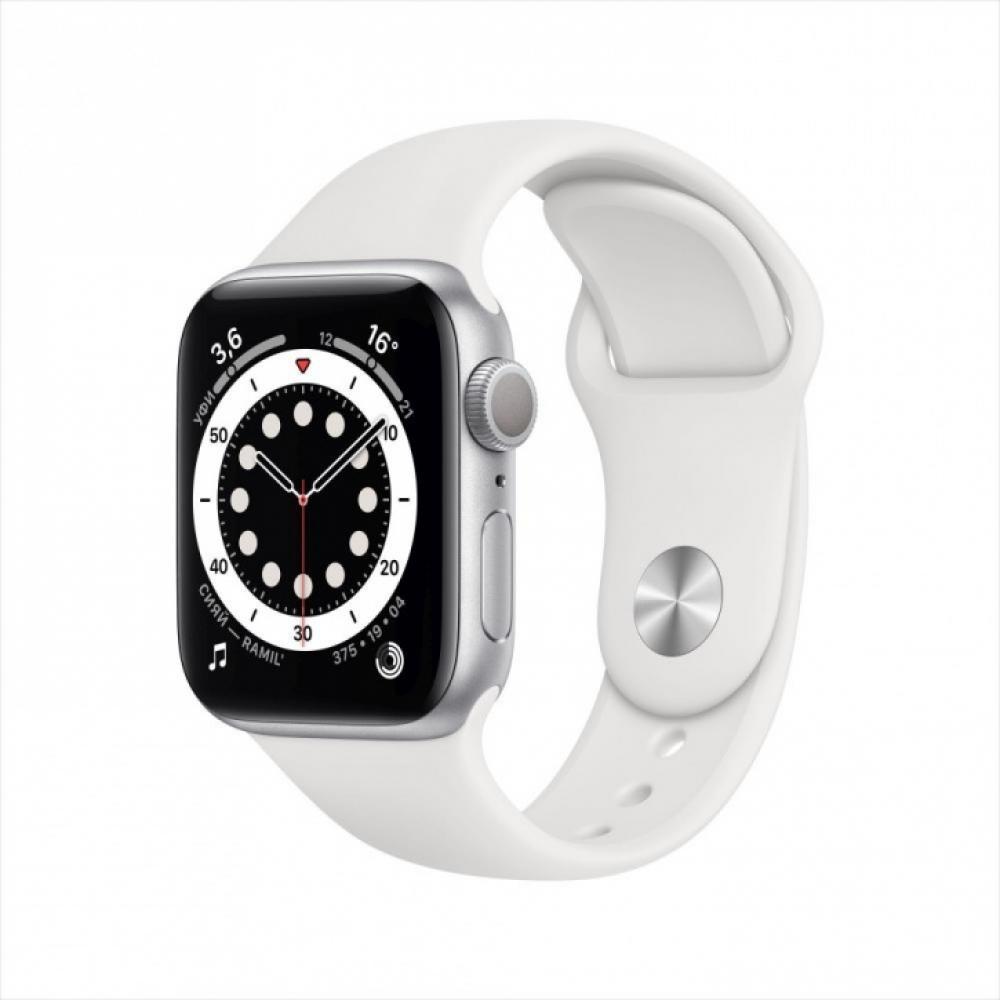 Смарт часы Apple Watch Series 6, 40 мм, корпус из алюминия серебристого цвета, спортивный ремешок