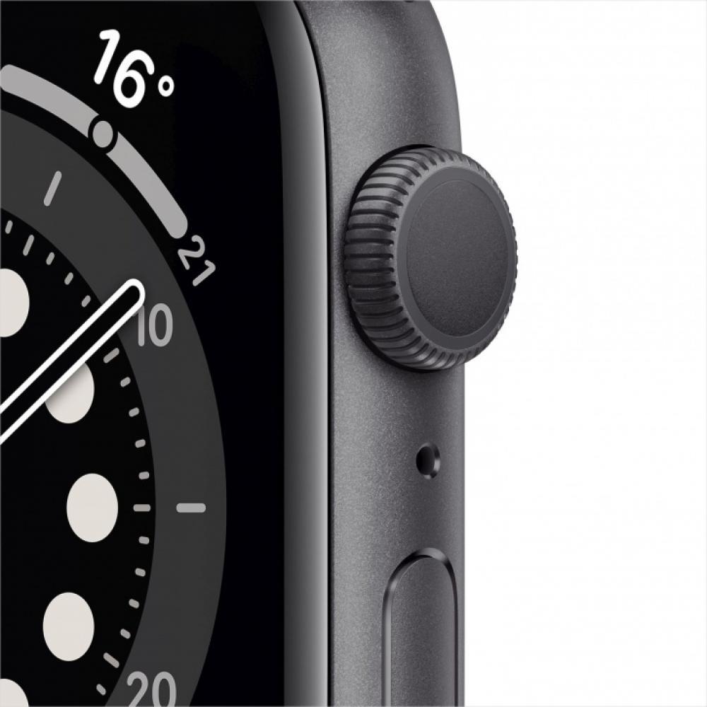 Смарт часы Apple Watch Series 6, 44 мм, корпус из алюминия цвета серый космос, спортивный ремешок