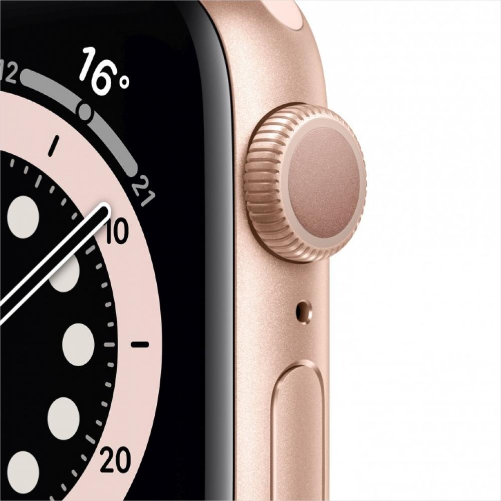 Смарт часы Apple Watch Series 6, 44 мм, корпус из алюминия золотого цвета, спортивный ремешок